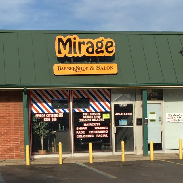 Exterior of Mirage barbershop